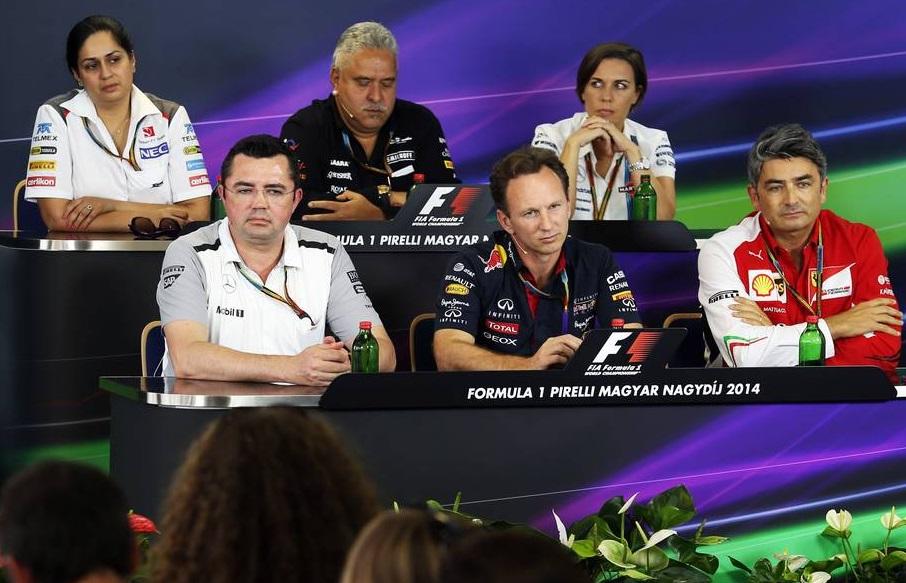 A csapatfőnökök sajtótájékoztatója a Hungaroringen (Fotó: Moy / XPB Images)