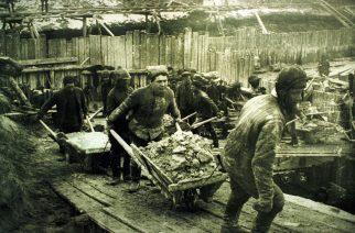 ubikos munka egy egykori Gulag-táborban, valahol Európában az 1940-es, 50-es években (MTI-fotó: reprodukció/Memorial Egyesület Moszkva)