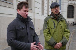 Kanász-nagy Máté az LMP Országos Elnökségének titkára és Komlósi Csaba egri önkormányzati képviselő.