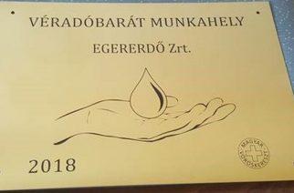 Véradóbarát munkahely címet kapott az Egererdő Zrt.